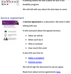 Example of an easy read policy explaining what a service agreement is.