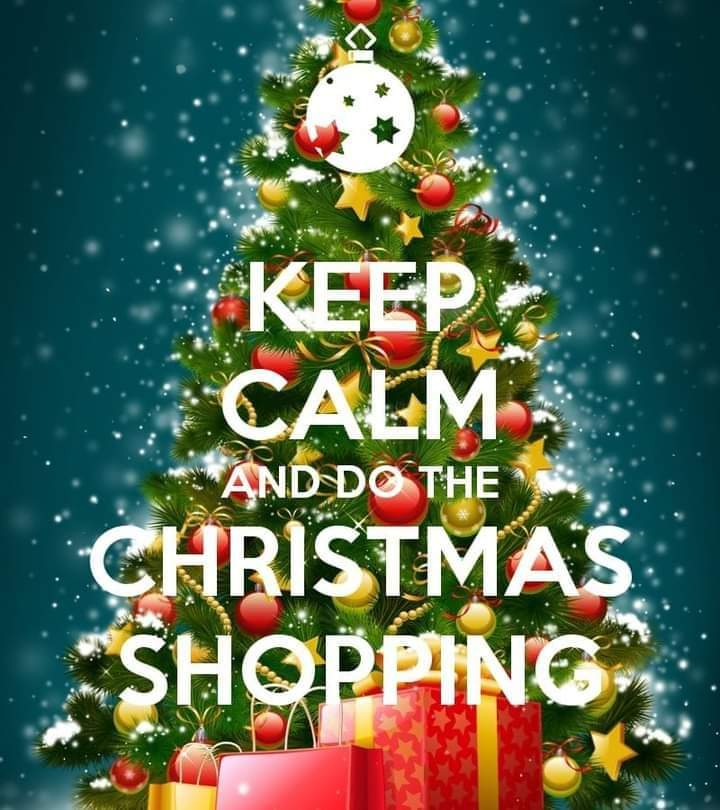 Keep calm and do the Christmas shopping is written in white over a Christmas tree decorated with baubles and ribbons. There are wrapped gifts in front of the tree and it looks like it is snowing in the background. The tree and background are a mix of a little light and dark and mostly midtones.