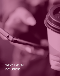 Zoomed in image of one hand holding a smartphone and another holding a takeaway coffee.